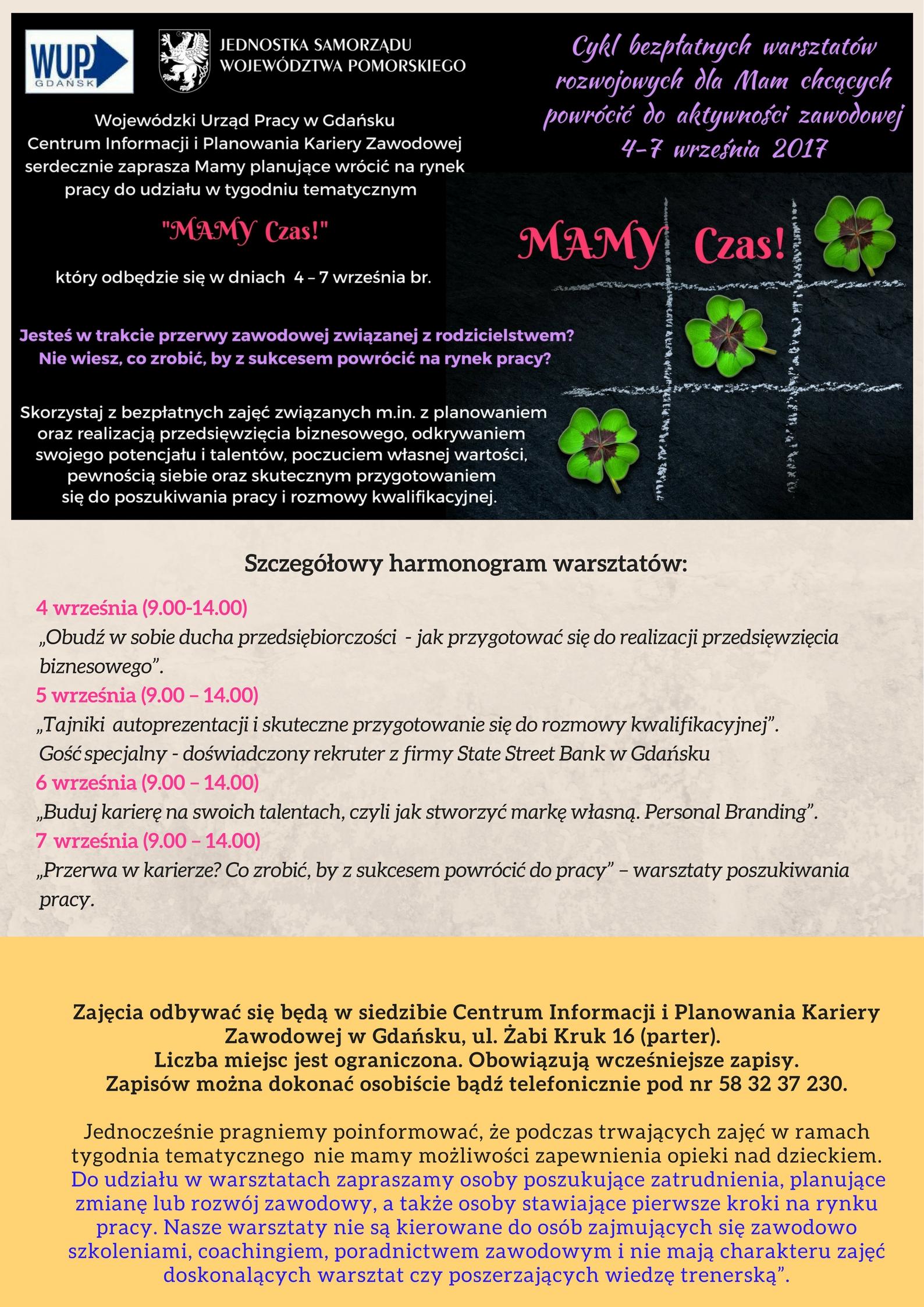 Plakat Warsztaty Mamy Czas!