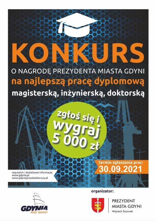 Plakat konkursu o nagrodę Prezydenta na najlepszą pracę dyplomową