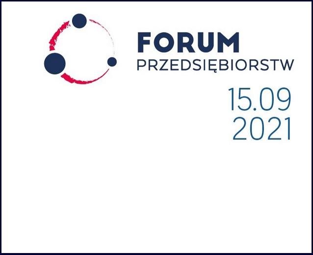Biała plansza informacyjna z napisem Forum Przedsiębiorstw i datą wydarzenia