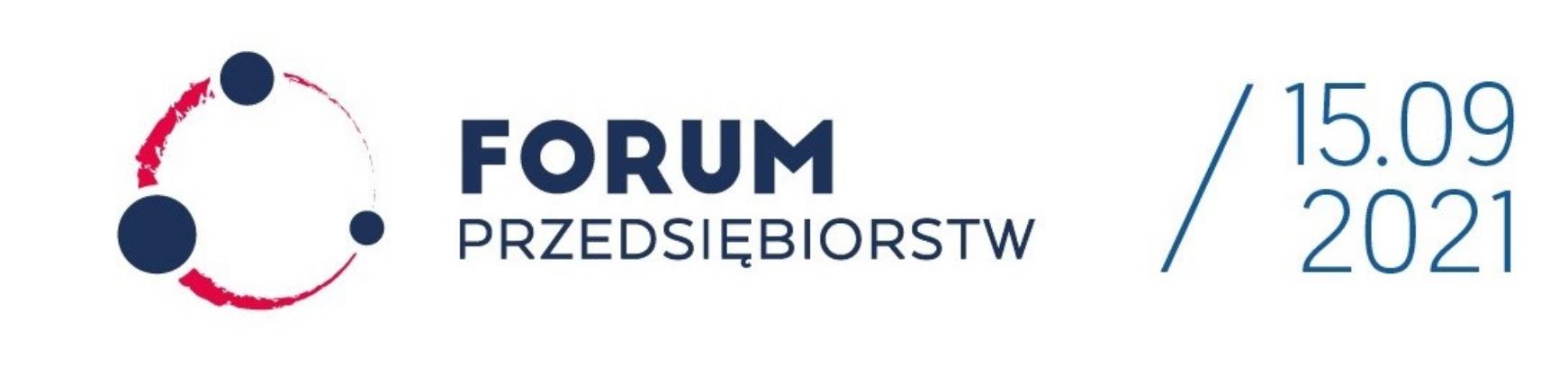 Biała plansza informacyjna z napisem Forum Przedsiębiorstw, data 15.09.2021