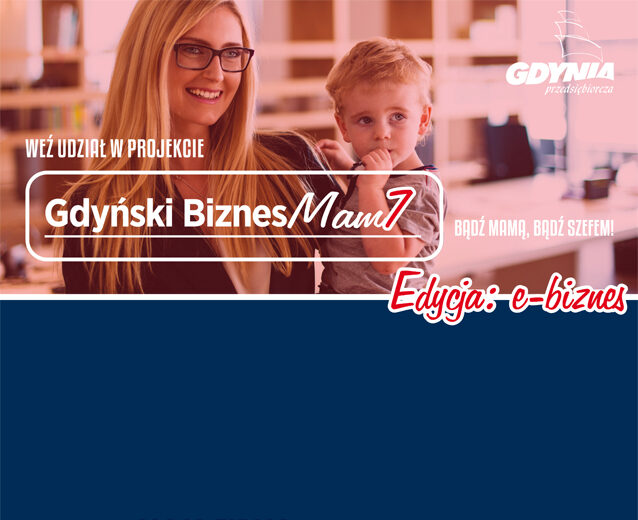 Plakat przedstawiający kobietę z dzieckiem na ręku symbolizujący mamę wracająca na rynek pracy.